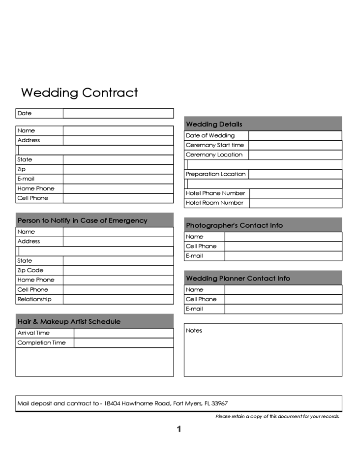 1 Blank Wedding Contract Template  Blank Contract Template