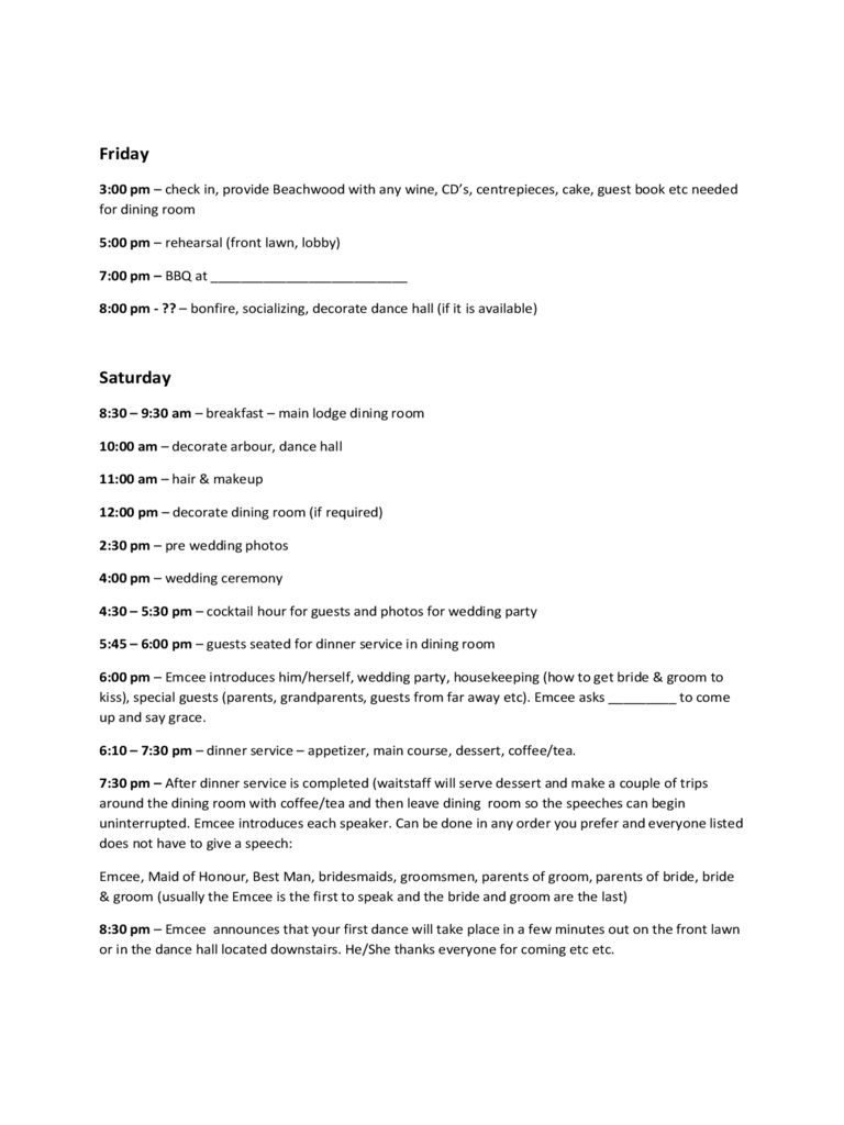 sample weekend wedding itinerary free download