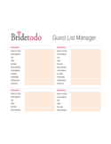 Wedding Guest List Free Download