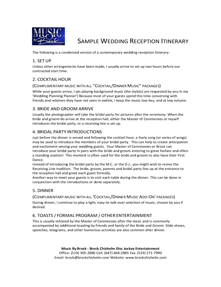 Wedding Reception Itinerary Sample Free Download