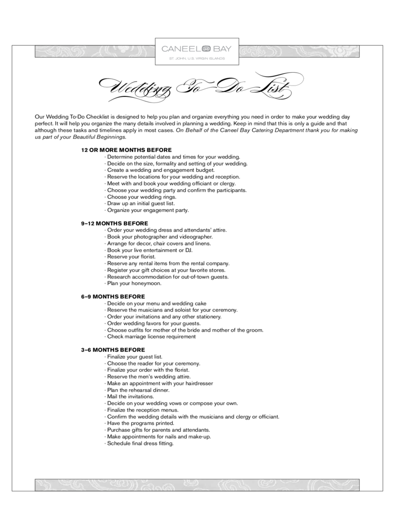 Sample Wedding To Do List
