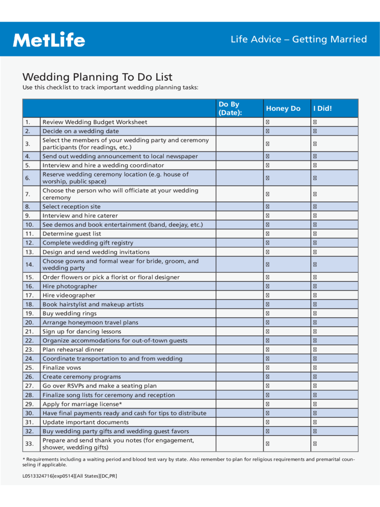 Wedding Planning To Do List