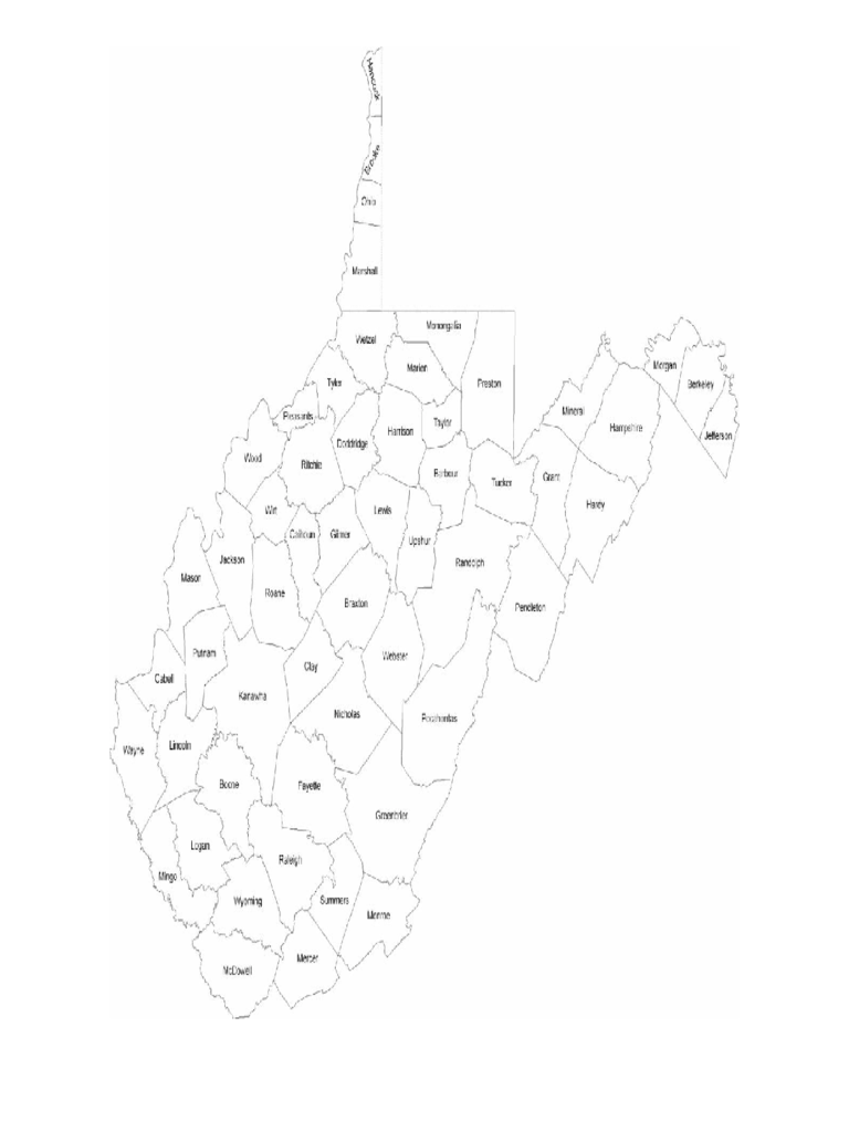 West Virginia County Map with County Names