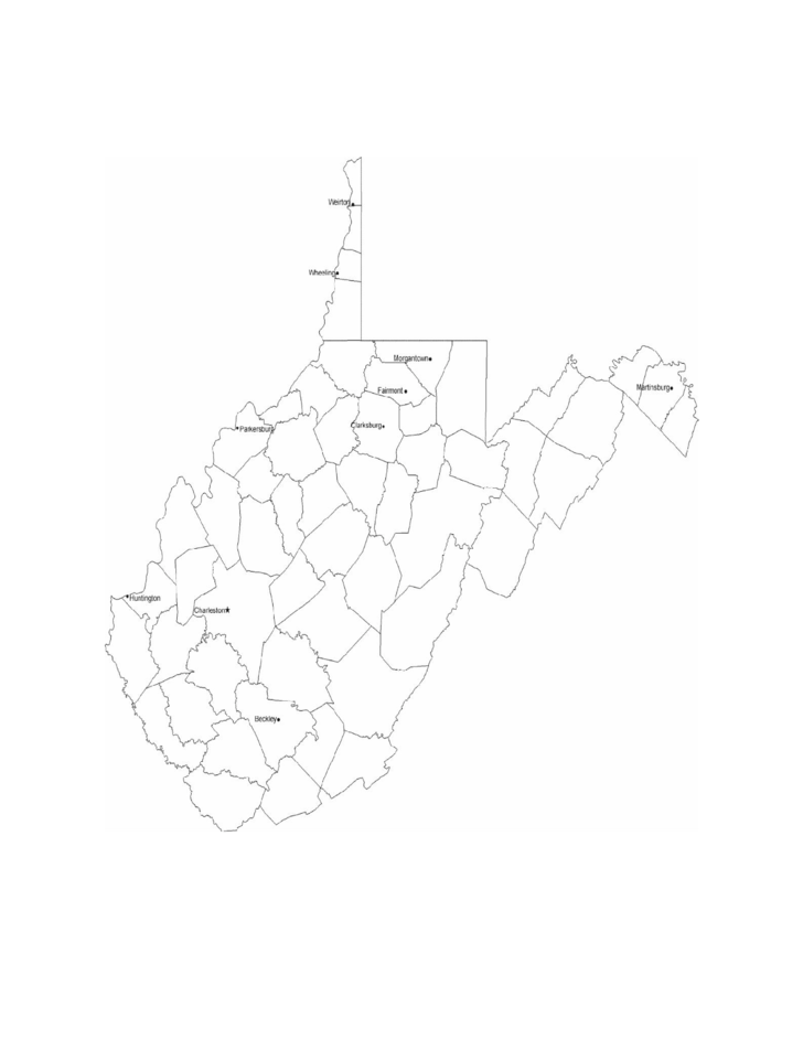 Map of West Virginia Cities with City Names Free Download