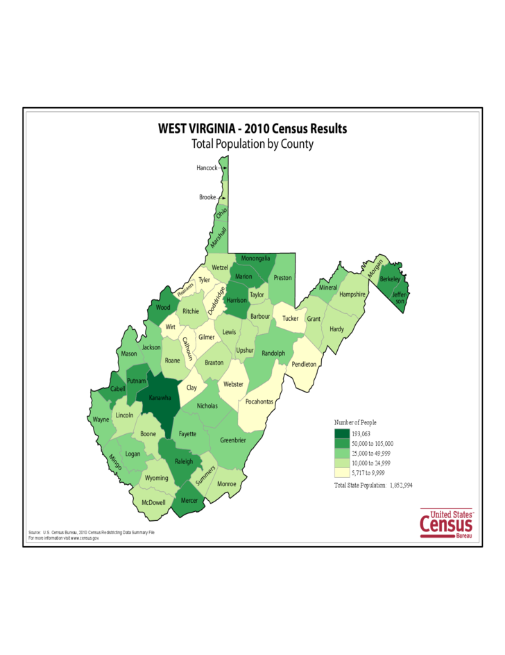 West Virginia County Population Map Free Download