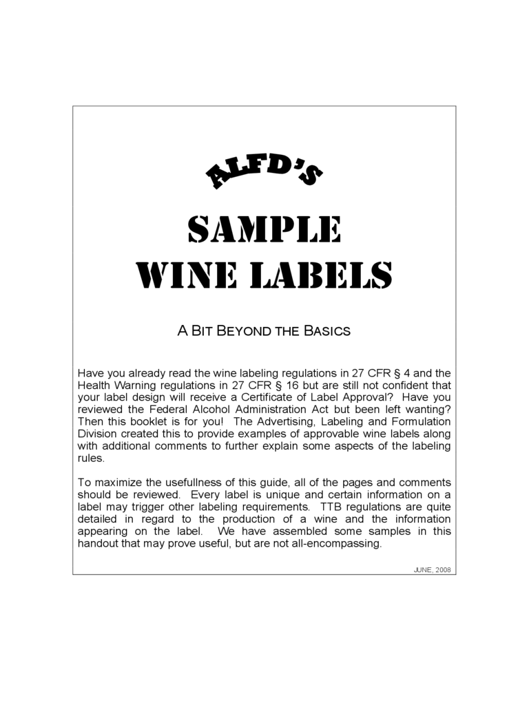 Sample Wine Labels Free Download