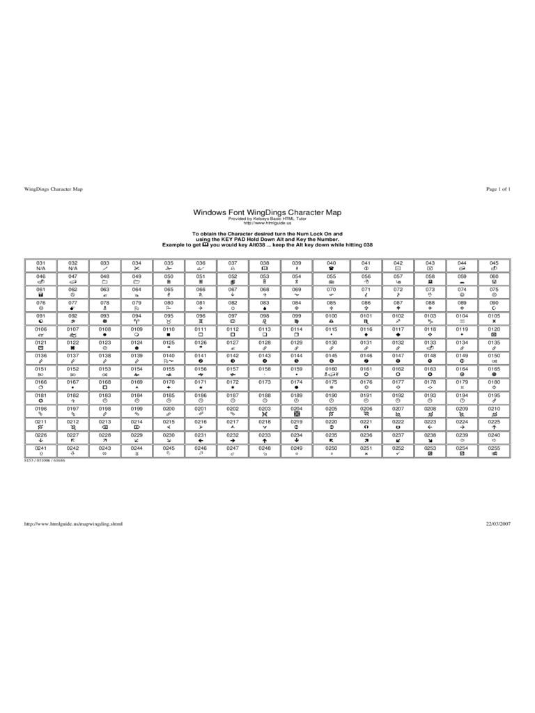 Wingdings Chart - 3 Free Templates in PDF, Word, Excel Download