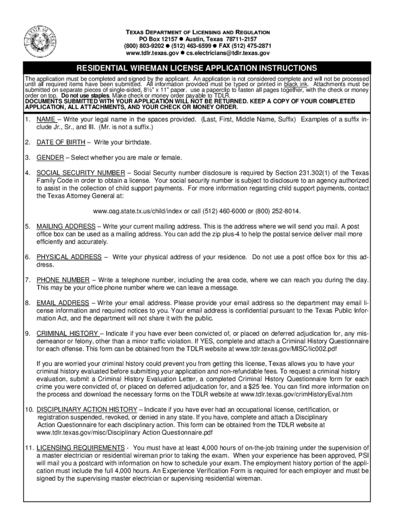 Wireman Licence Application Form - Texas