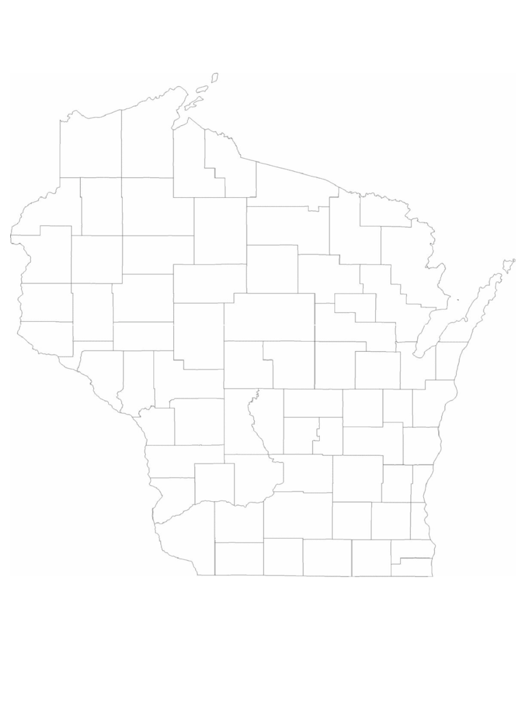 Blank Wisconsin County Map
