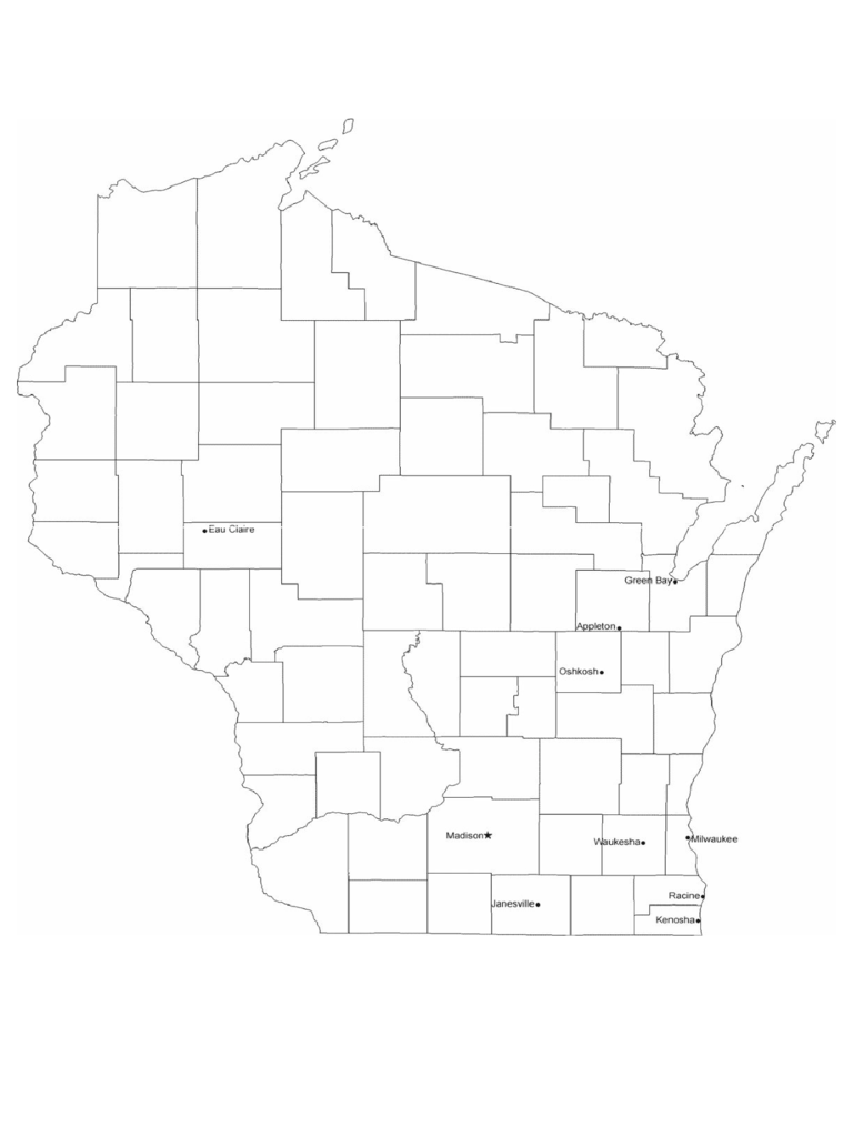 Map of Wisconsin Cities with City Names