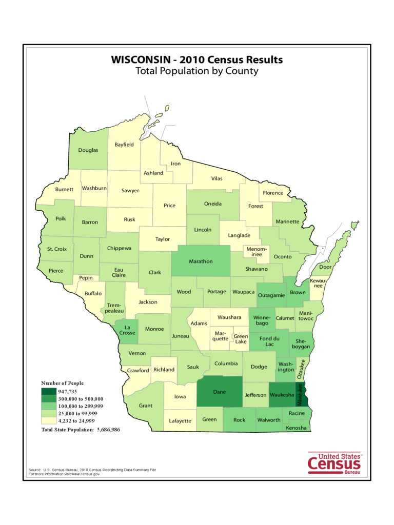 Wisconsin County Population Map