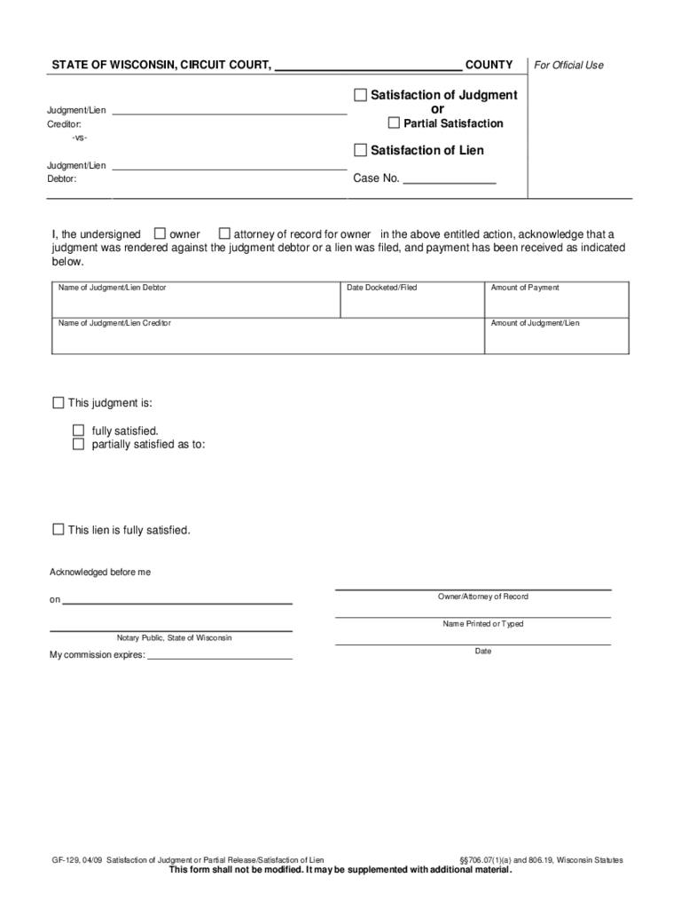 Wisconsin Satisfaction of Mortgage Form 2 Free Templates in PDF – Release of Mortgage Form