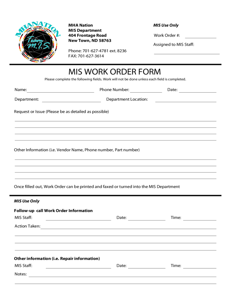 mis work order form mha nation