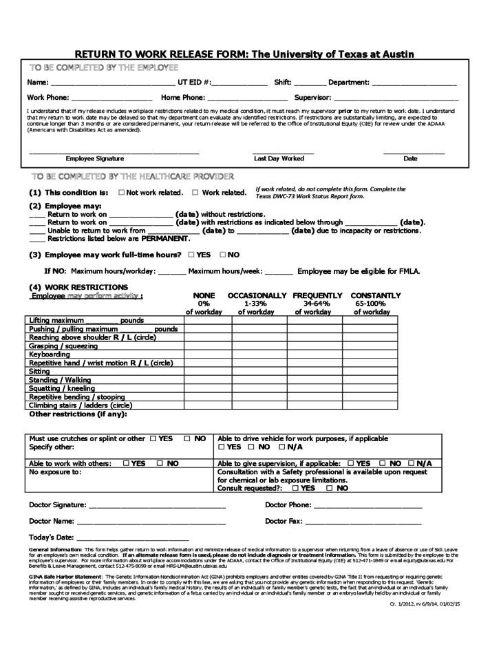 work release forms