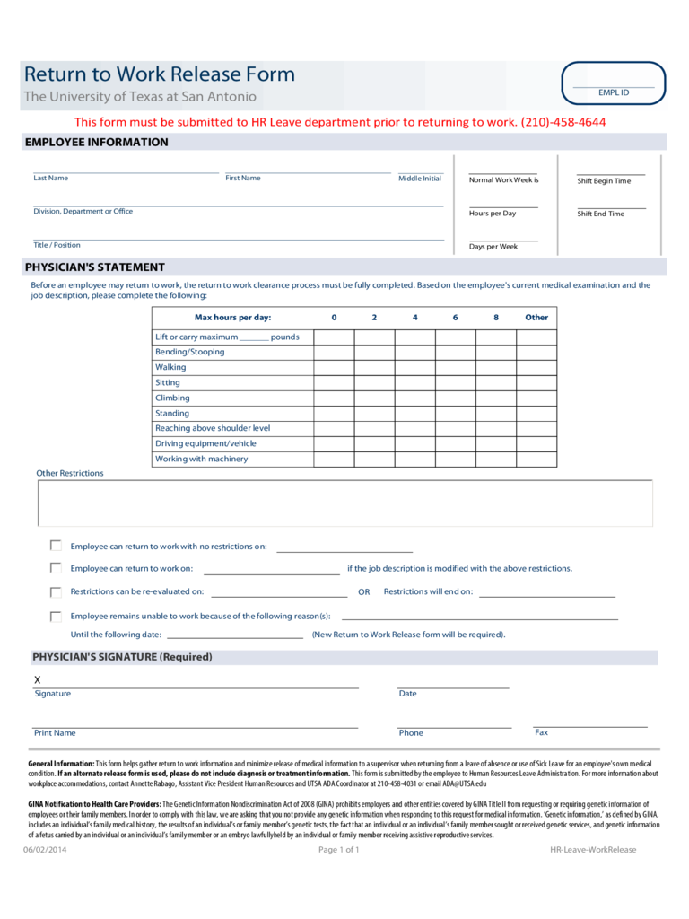 Return to Work Release Form - The University of Texas at Antonio