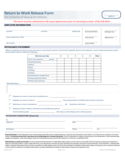 Return to Work Release Form - The University of Texas at Antonio Free Download