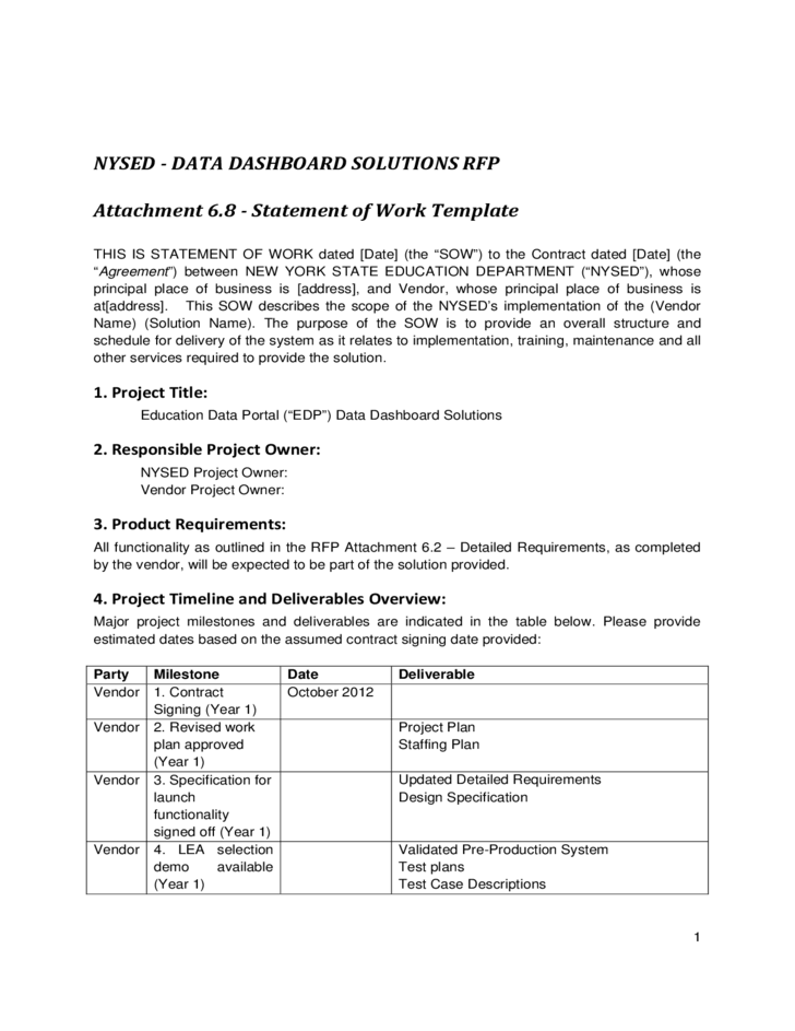 Statement of work template new york free download for Statement of works template