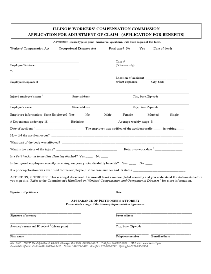 workers u0026 39  compensation commission application for ajustment