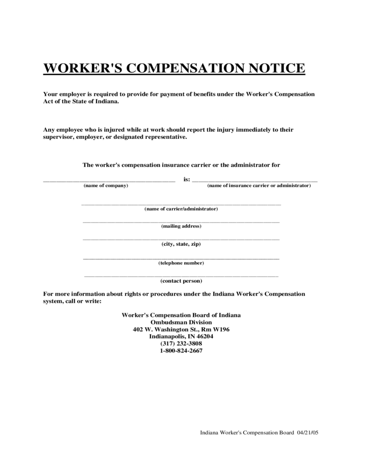 workers-compensation-notice-indiana-l1 Employment Application Form Template Pdf on employment application forms for restaurants, employment application forms to print, employment application template word, employment application spreadsheet, employment application waste management,