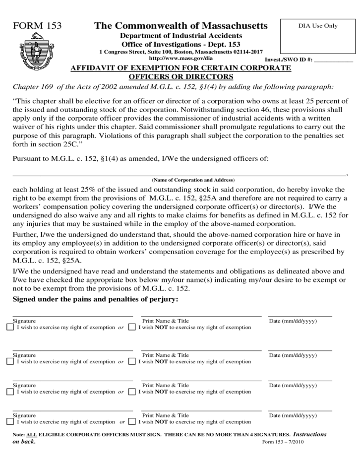 Workers' Compensation Form - Massachusetts Free Download