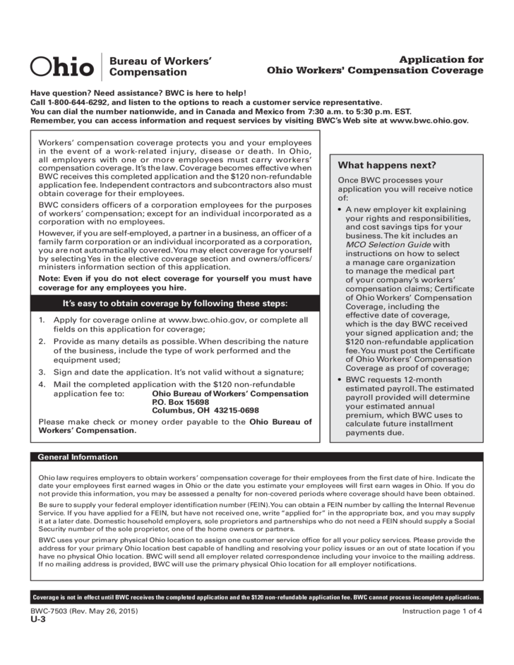 Application for Ohio Workers' Compensation Coverage