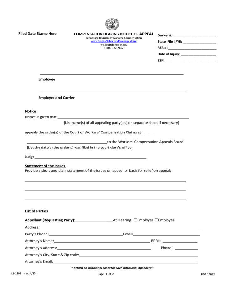 compensation hearing notice of appeal - tennessee free download