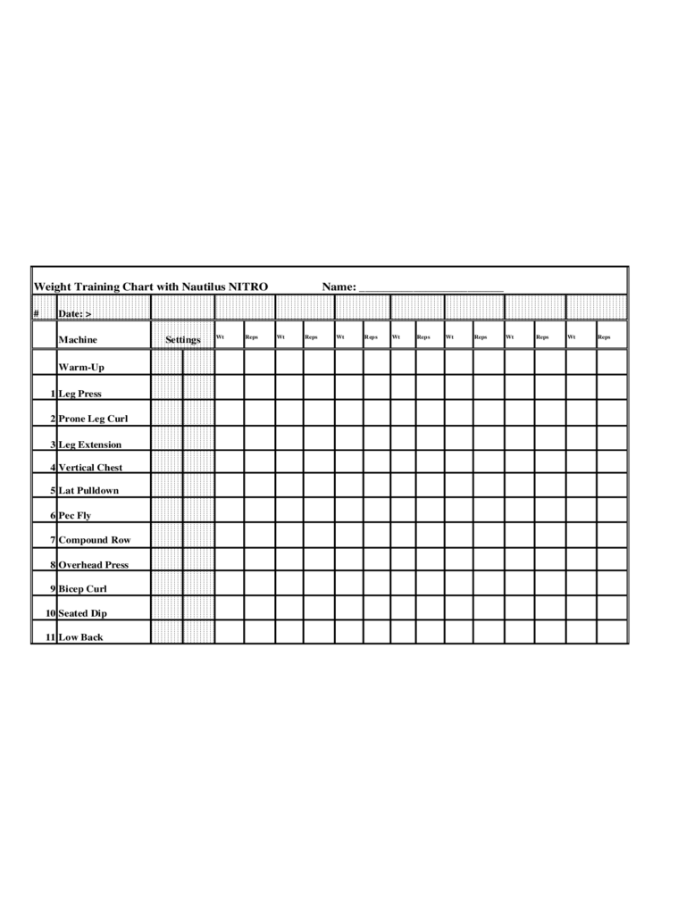 Workout chart template