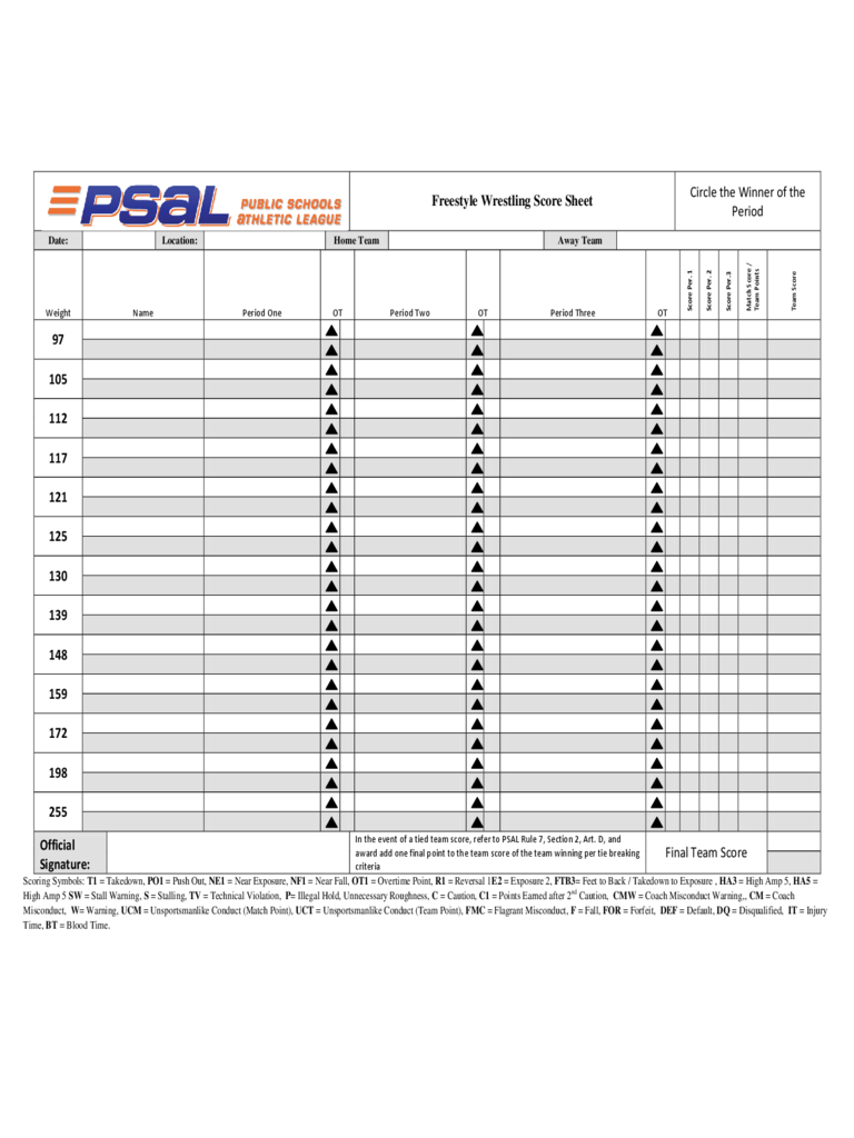 Wrestling Score Sheet 3 Free Templates in PDF Word Excel Download – Wrestling Score Sheet