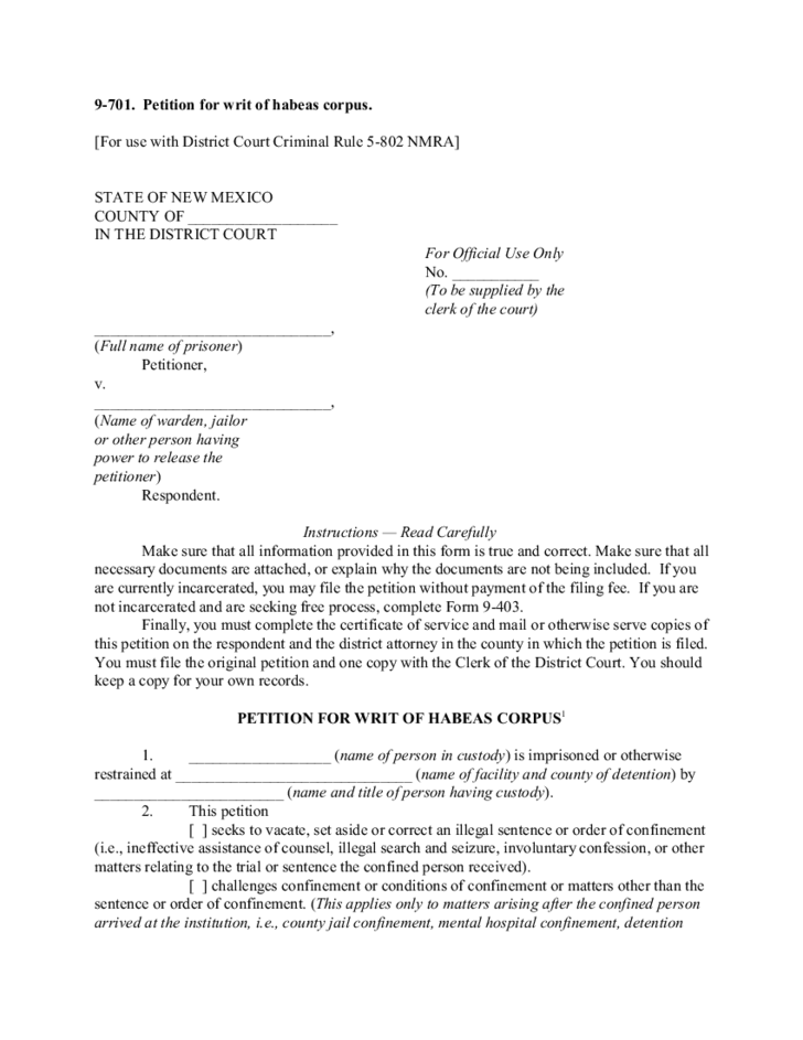 Petition For Writ Of Habeas Corpus New Mexico Free Download