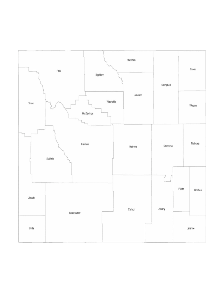 Wyoming County Map with County Names