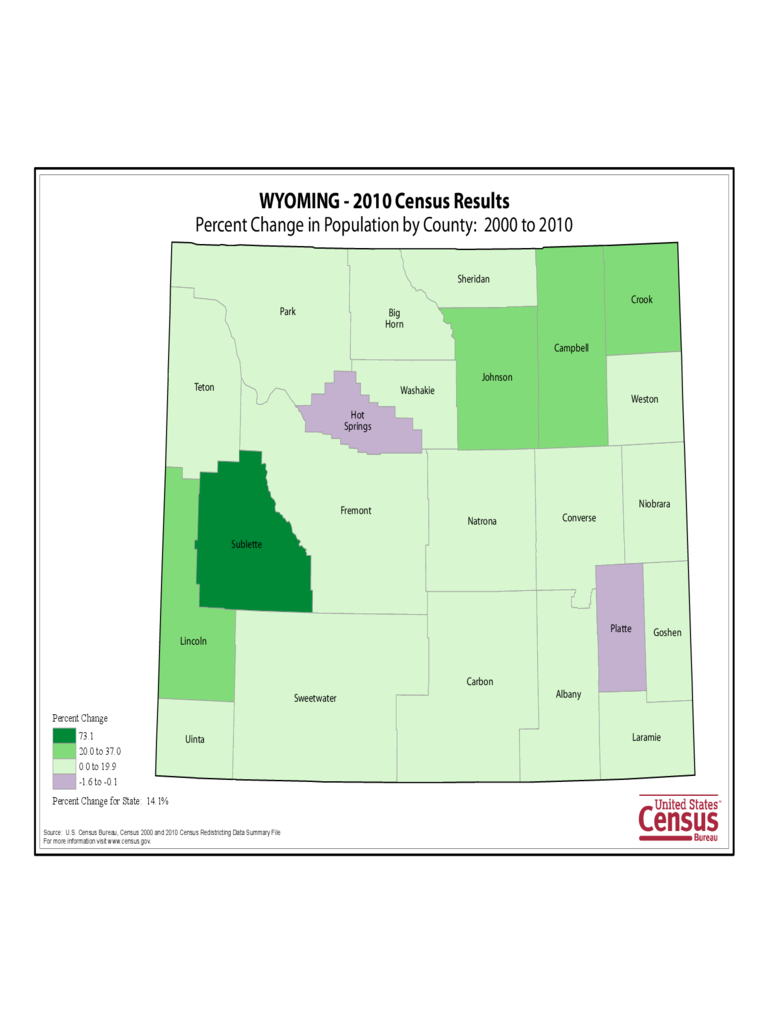 Wyoming County Population Change Map