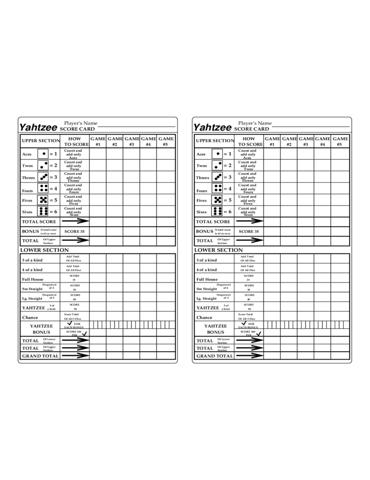 yahtzee score card template
