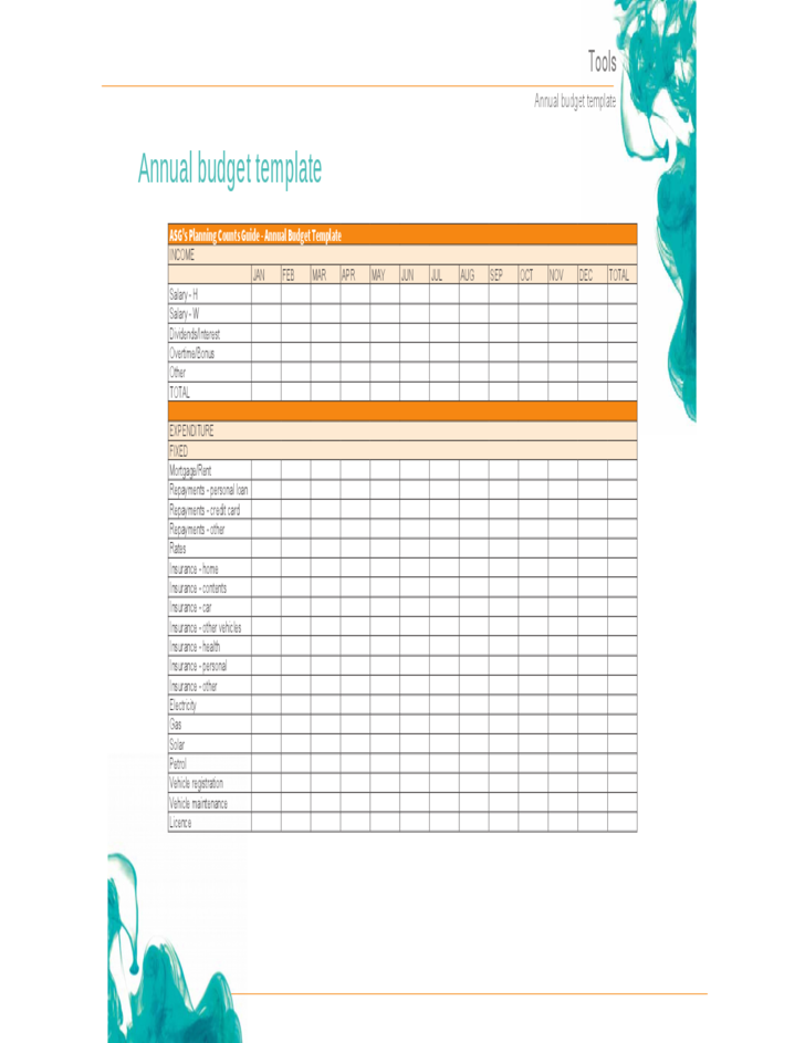 anuual budget template free download