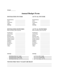 Annual Budget Form Free Download