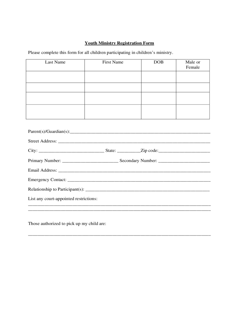 Youth Ministry Registration Form - True Vine Ministries