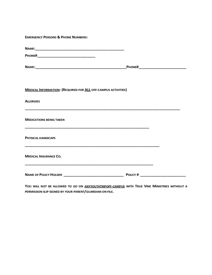 5 Youth Ministry Registration Form True Vine Ministries
