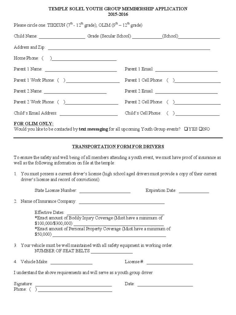 Youth Group Registration Form 2 Free Templates in PDF Word – New Customer Registration Form Template